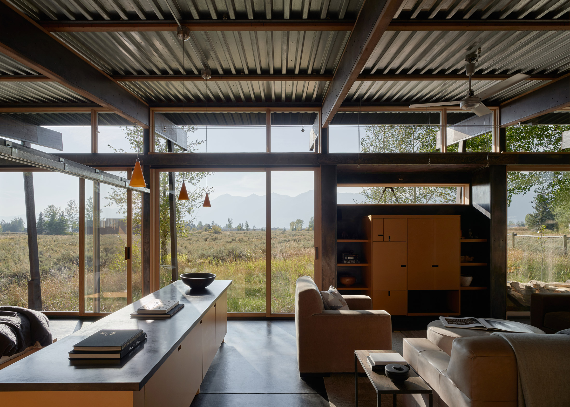 Living area and glass walls