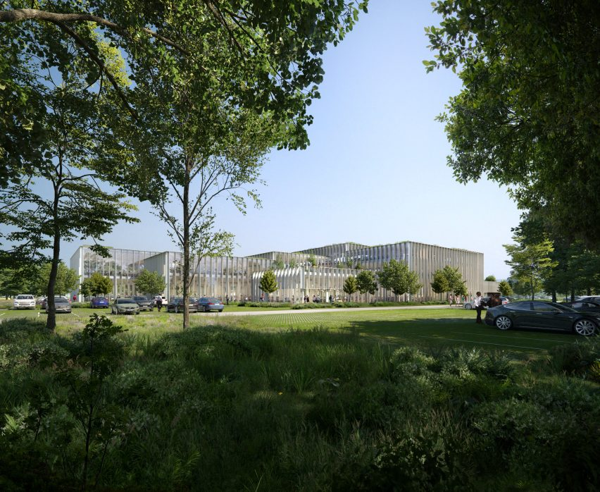 A visual of the proposed exterior for Cobot Hub by 3XN