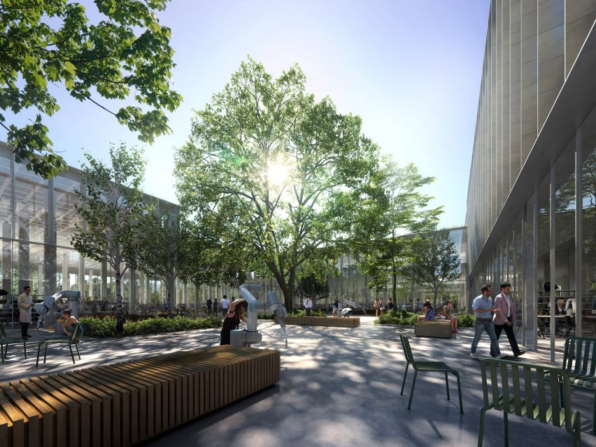 A shared courtyard of Cobot Hub by 3XN
