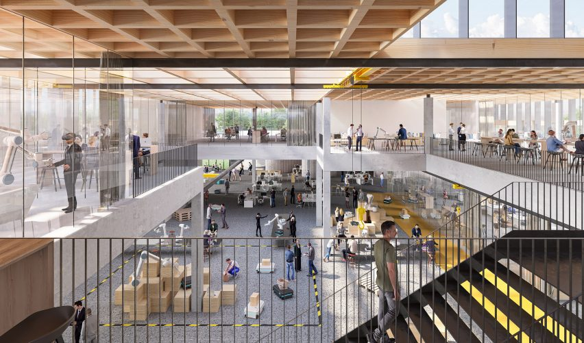 A visual of an atrium within Cobot Hub by 3XN