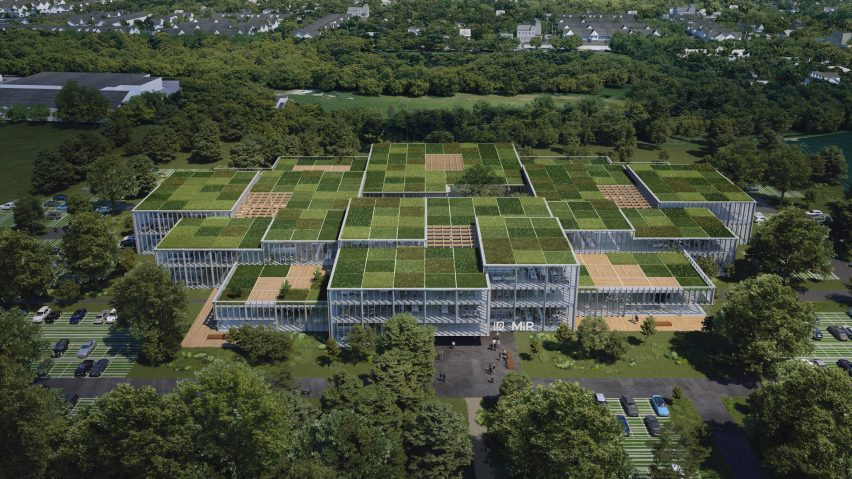 An aerial visual of the Cobot Hub by 3XN