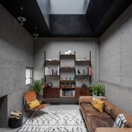 A living area in Concrete House by RAW Architecture Workshop in East Sussex