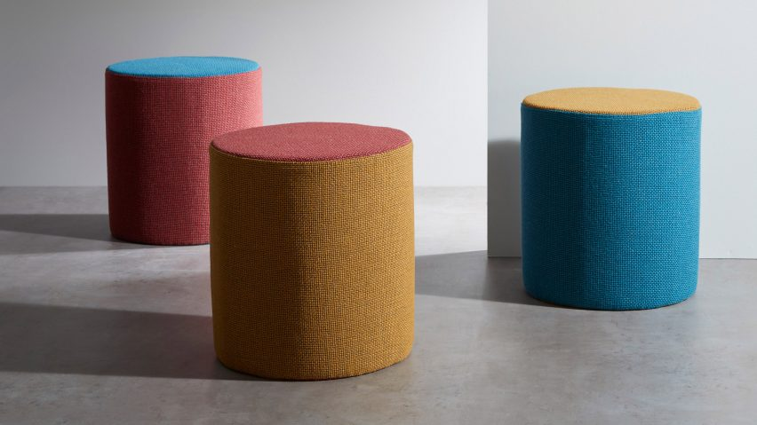 Stools upholstered with Camira Flax fabric by Camira