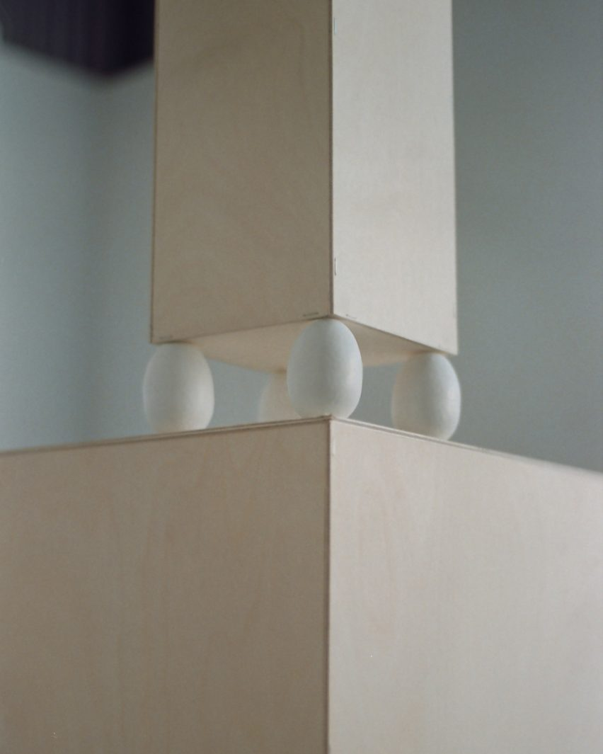 Display plinths from The Egg Rack Made a Disclaimer by Liang-Jung Chen