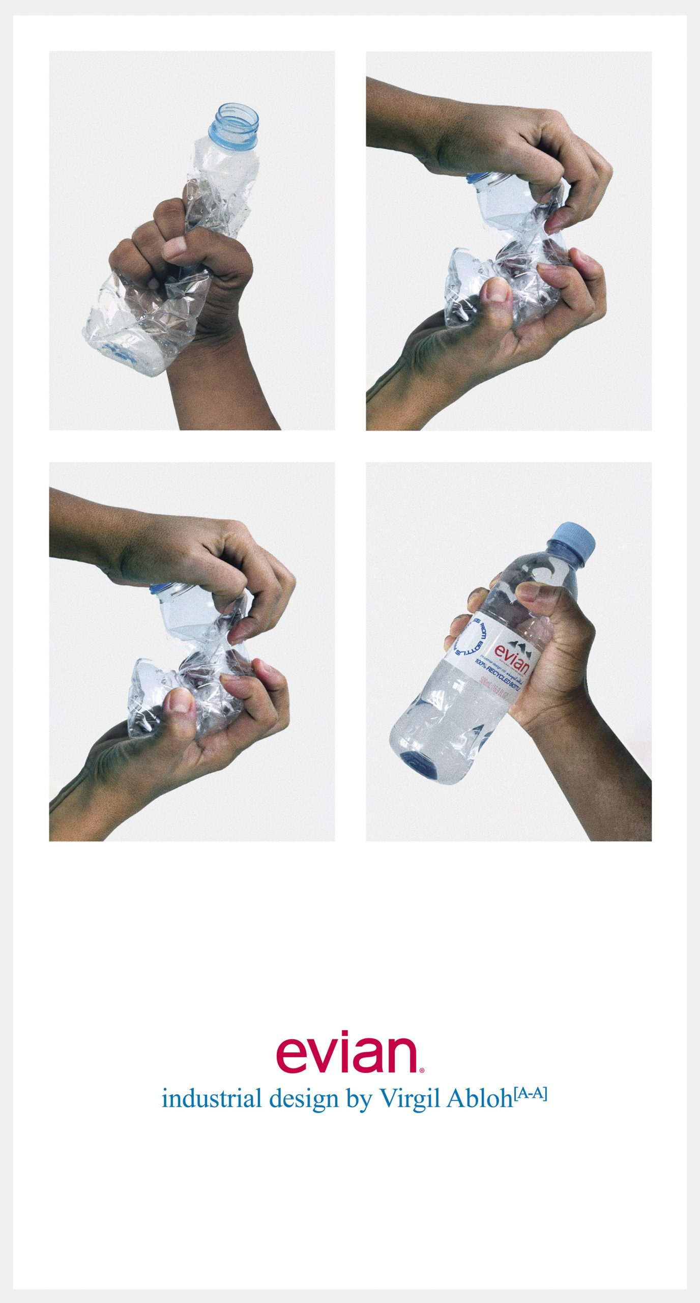 Manifesto recycled plastic bottle by Virgil Abloh for Evian