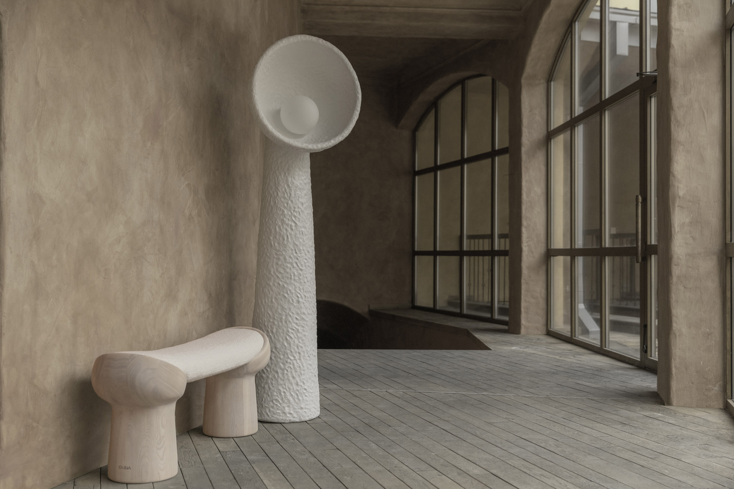 Soniah floor lamp and bench by Faina