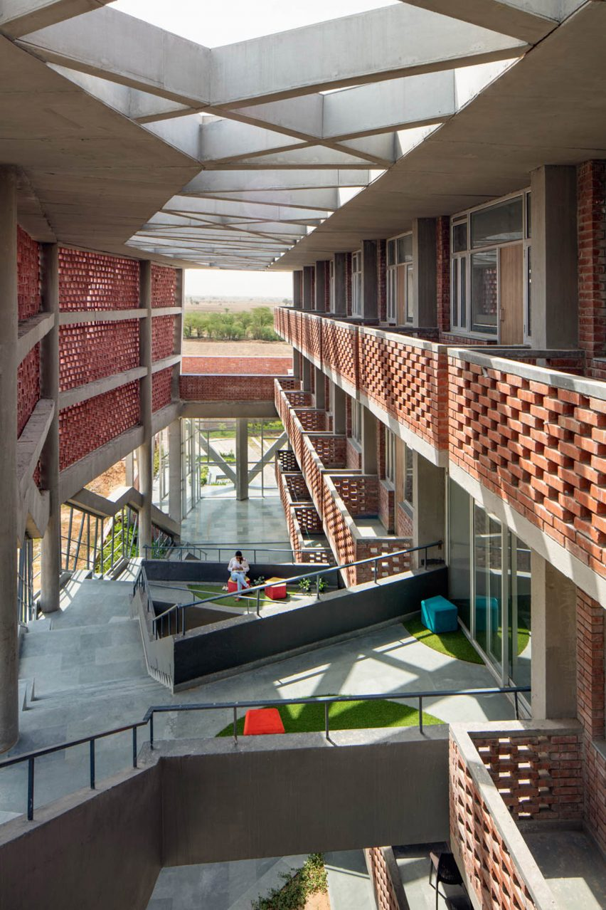 View from staircase of Girls Hoste Block by Zero Energy Design Lab