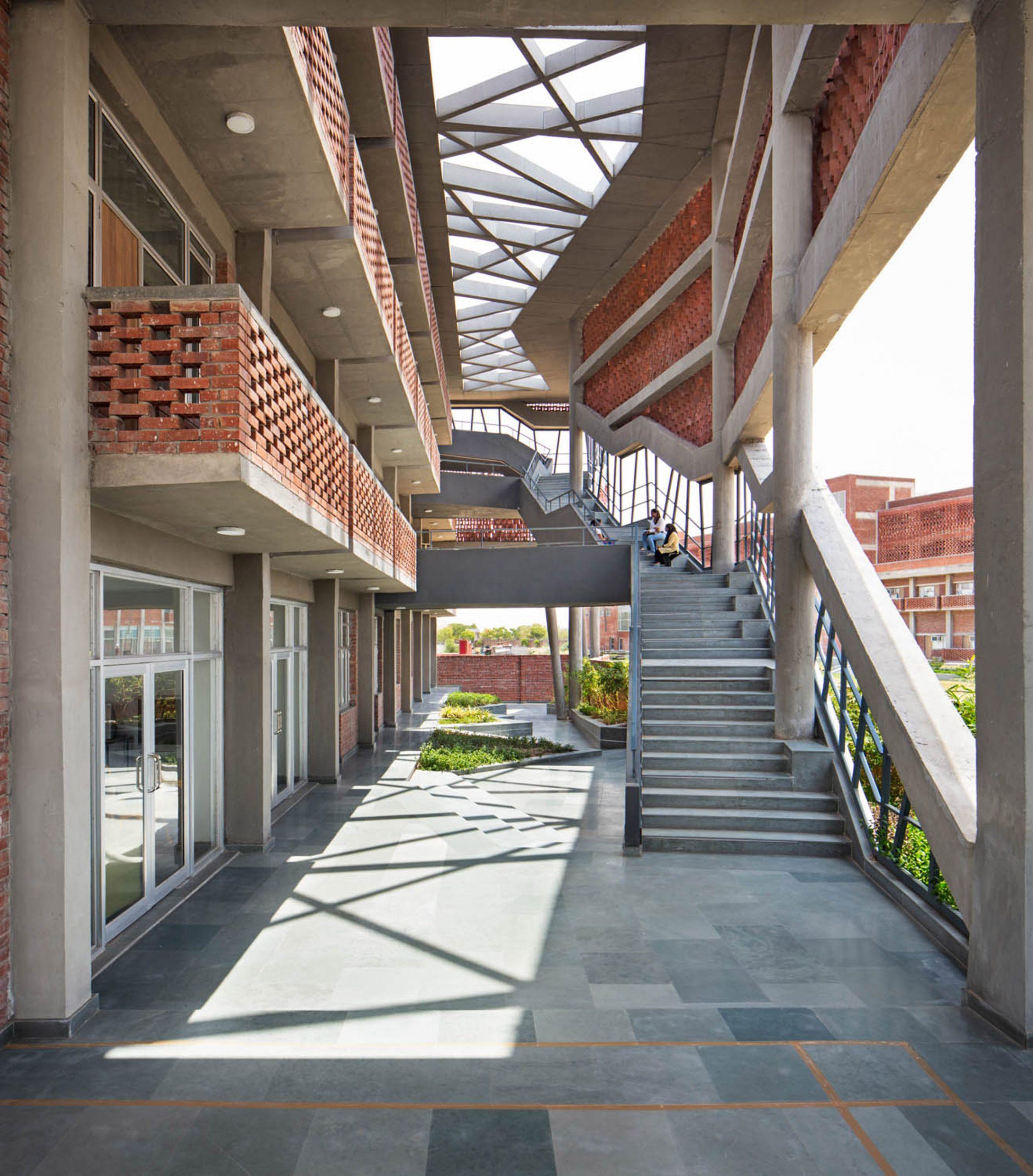 Layered facade at Girls Hoste Block by Zero Energy Design Lab