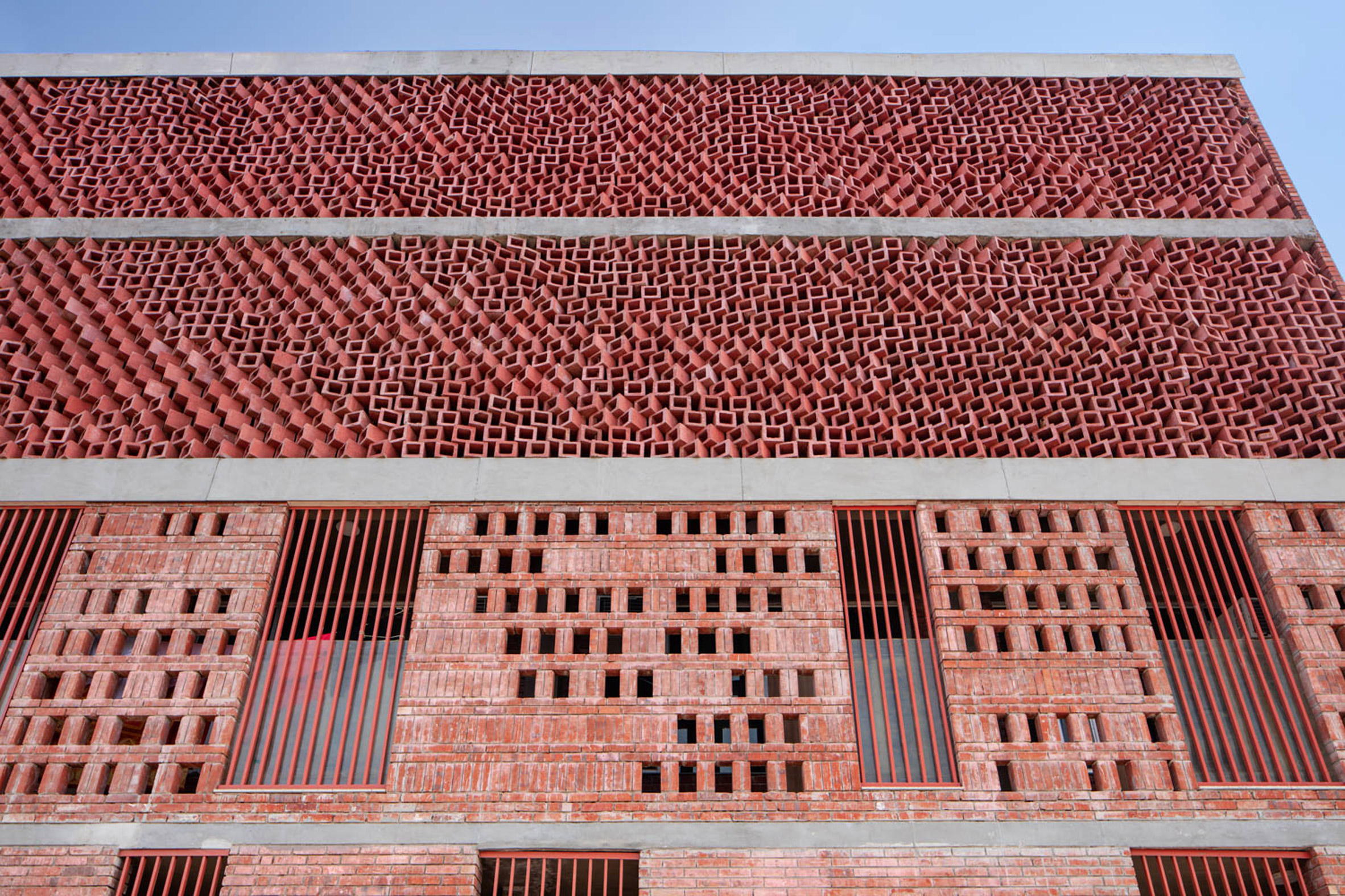 Concrete blocks at Girls Hoste Block by Zero Energy Design Lab