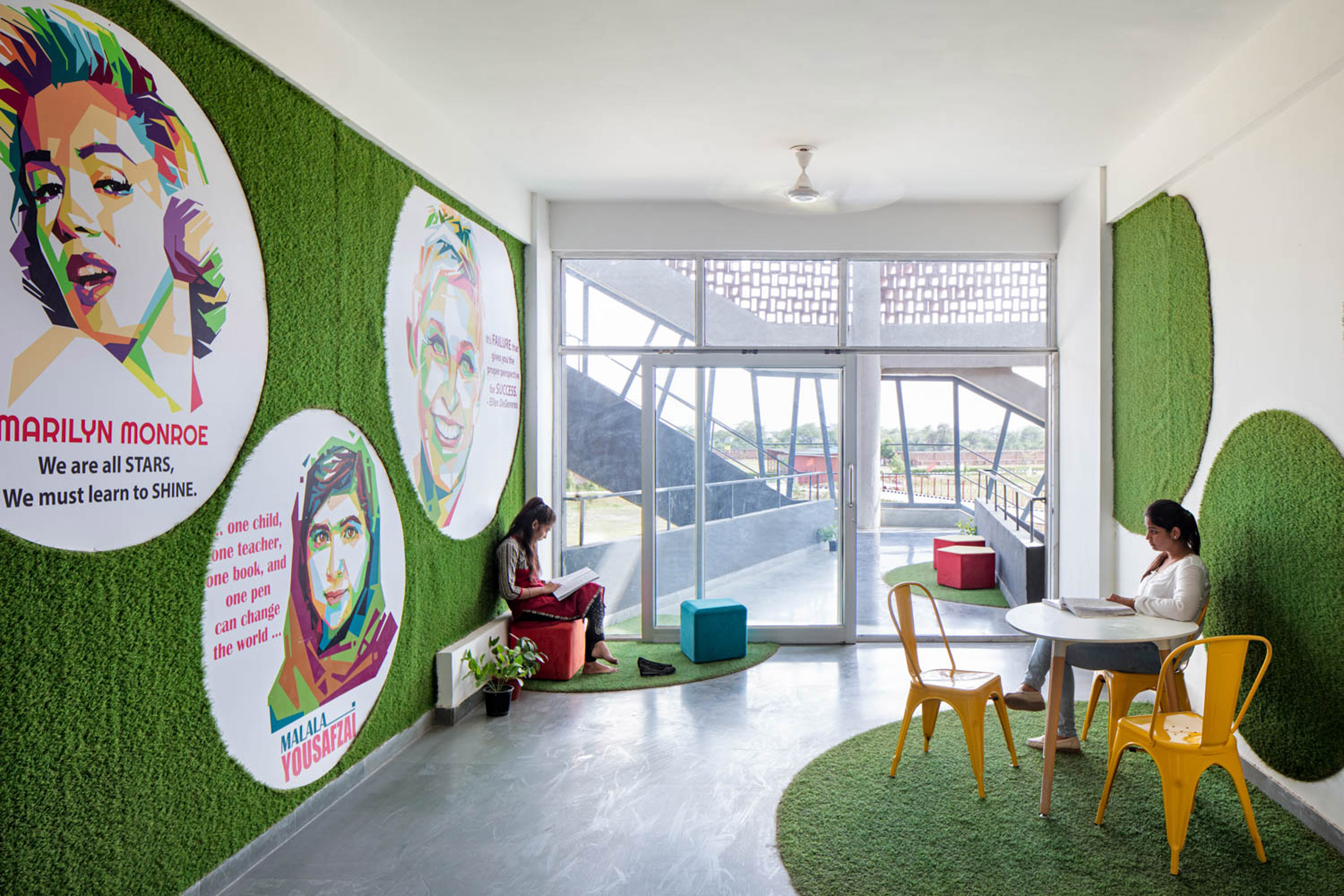 Interior of Girls Hoste Block by Zero Energy Design Lab
