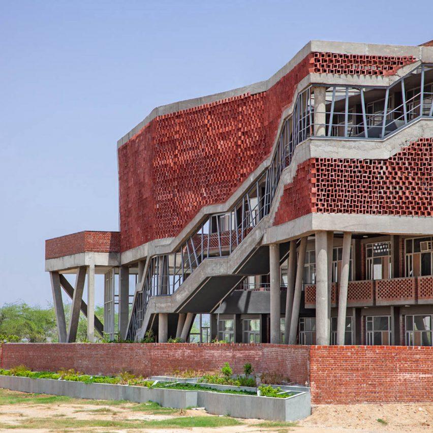 Zero Energy Design Lab creates Girls' Hostel Block with hollow concrete facade