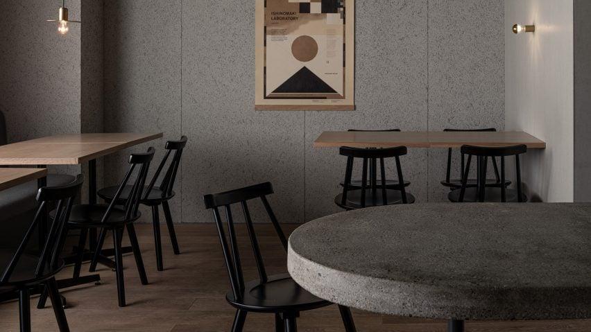 Seating area in Grillno restaurant interior by Keiji Ashizawa