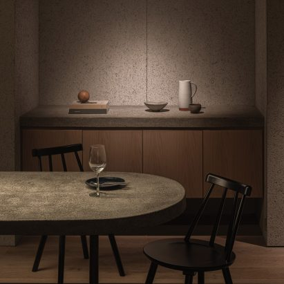 Concrete counter in Grillno restaurant interior by Keiji Ashizawa