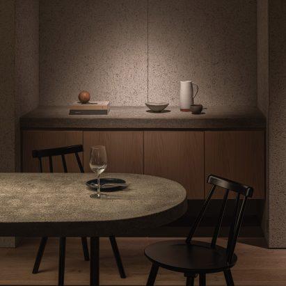 Concrete counter in Grillno restaurant interior by Keiji Ashizawa
