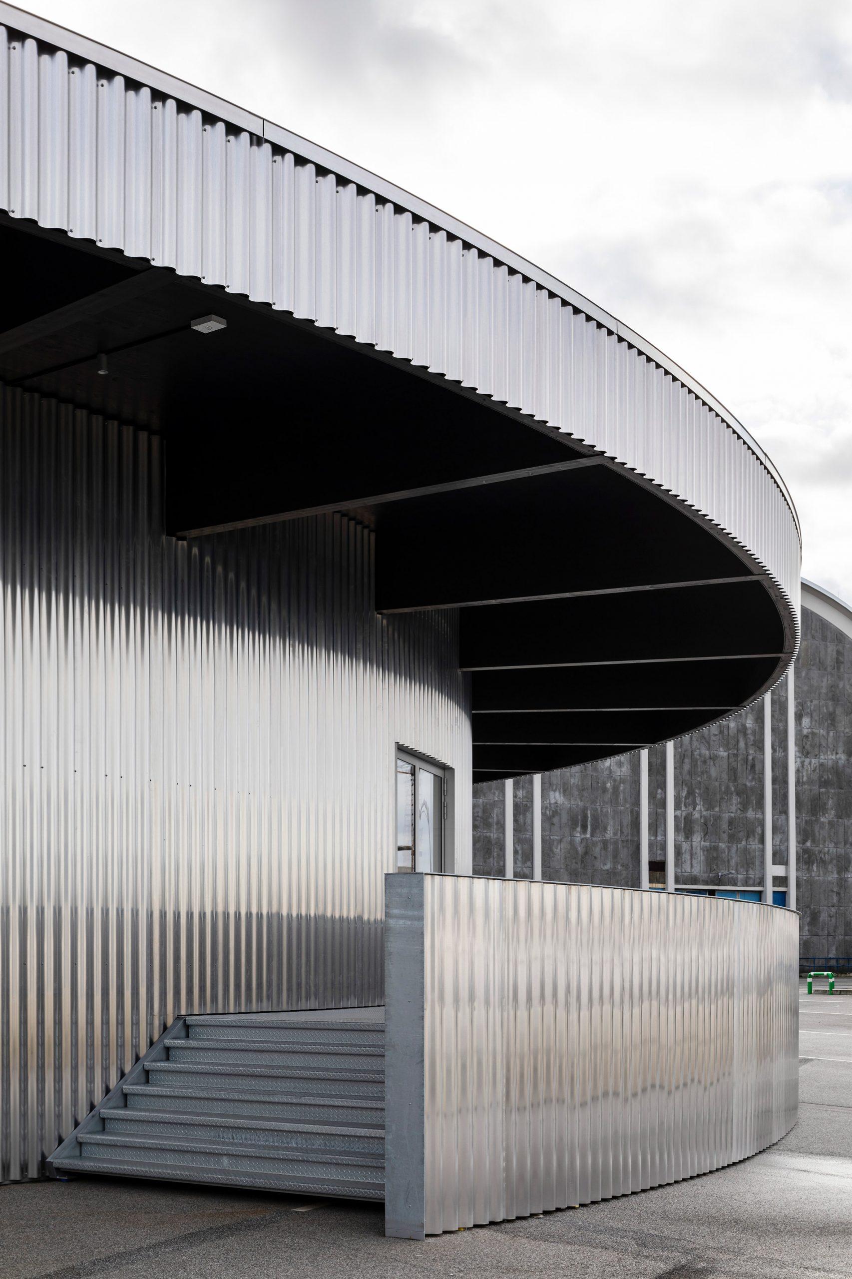 Corrugated aluminium-clad pavilion