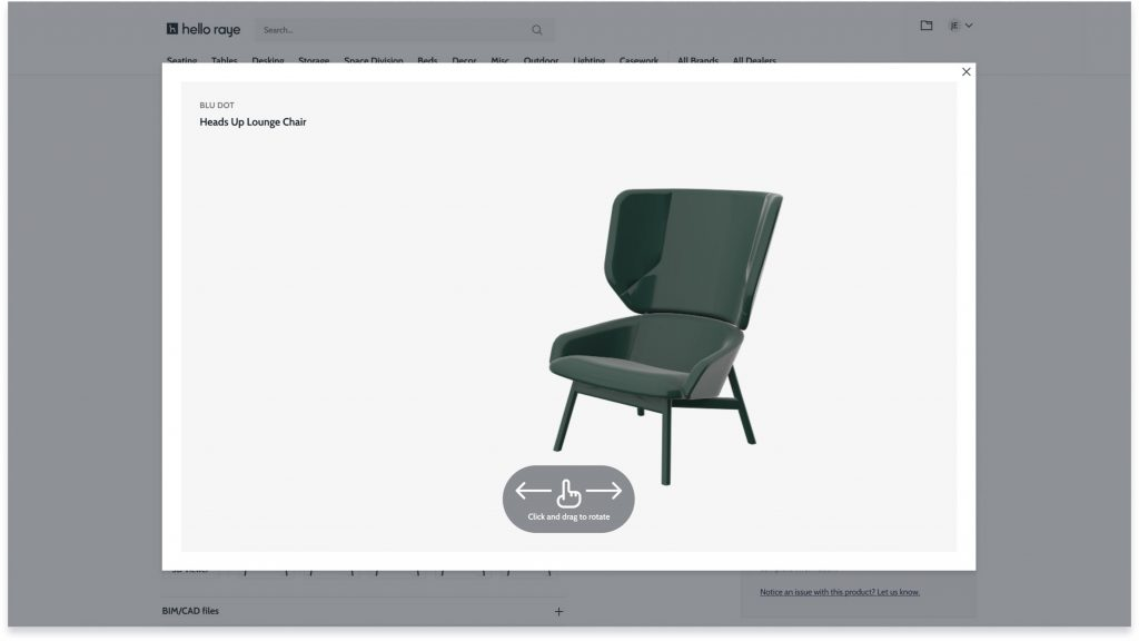 Hello Raye is an online directory of furniture complete with BIM files