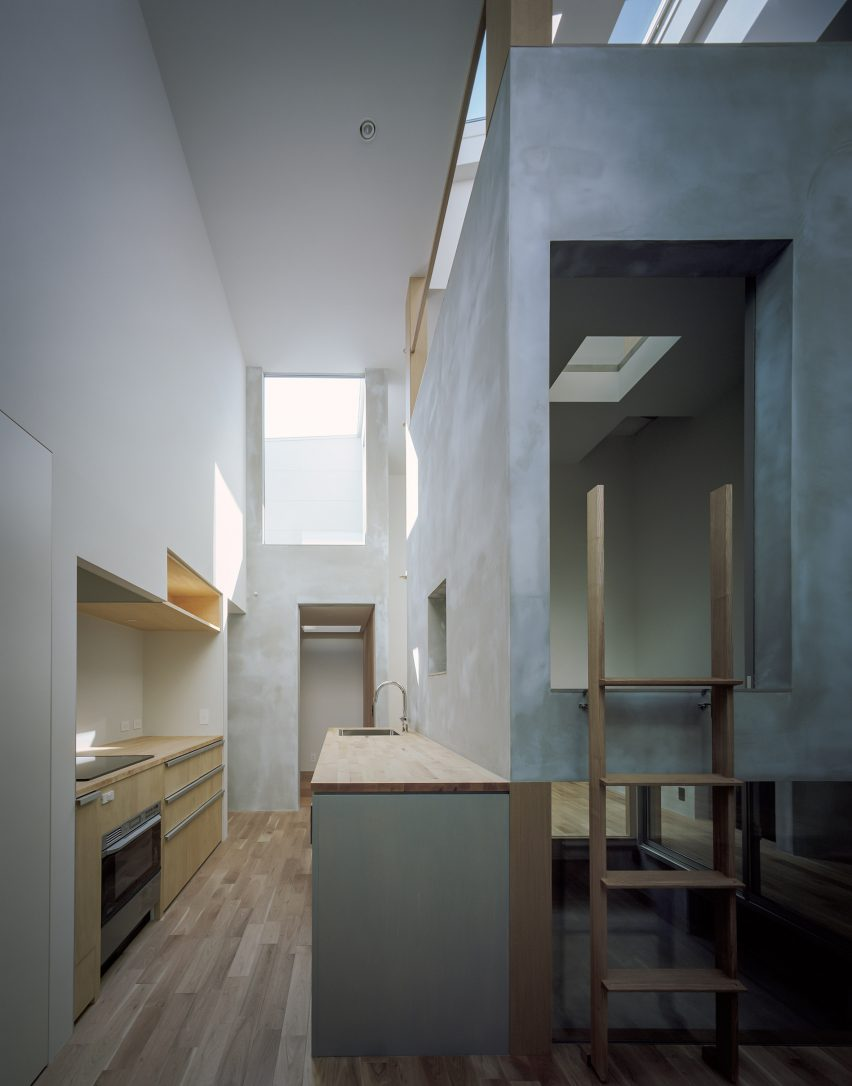 House with Light Void is lit by skylights