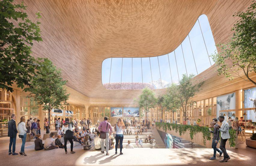 An amphitheatre inside an innovation hub by Foster + Partners