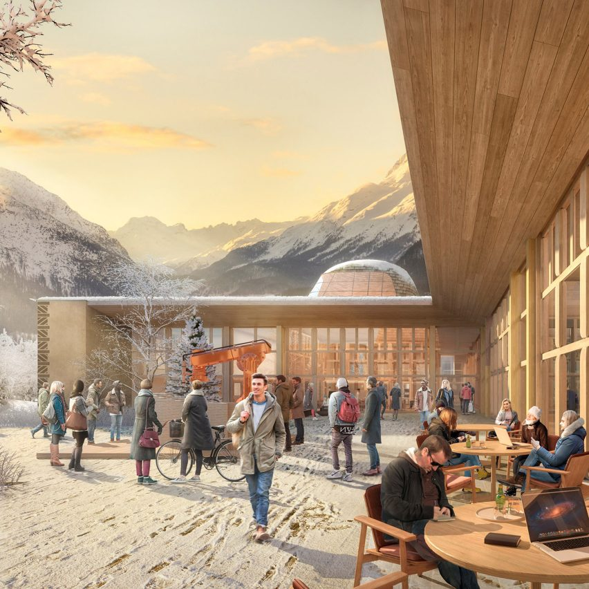 The larch-clad exterior of an innovation hub in the Swiss Alps, designed by Foster + Partners