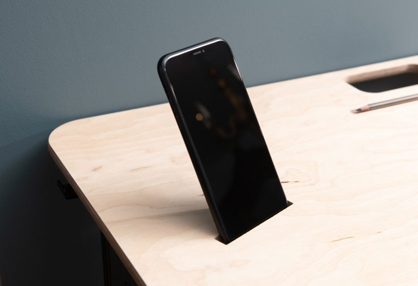 The phone holder of a KIT desk by Spacestor
