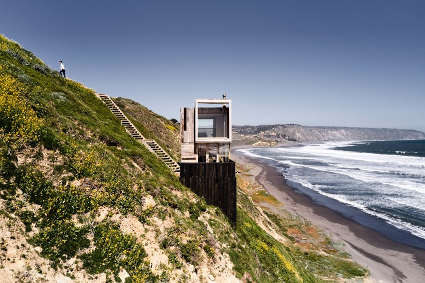Windows overlooking Pacific Ocean in Chilean cabin