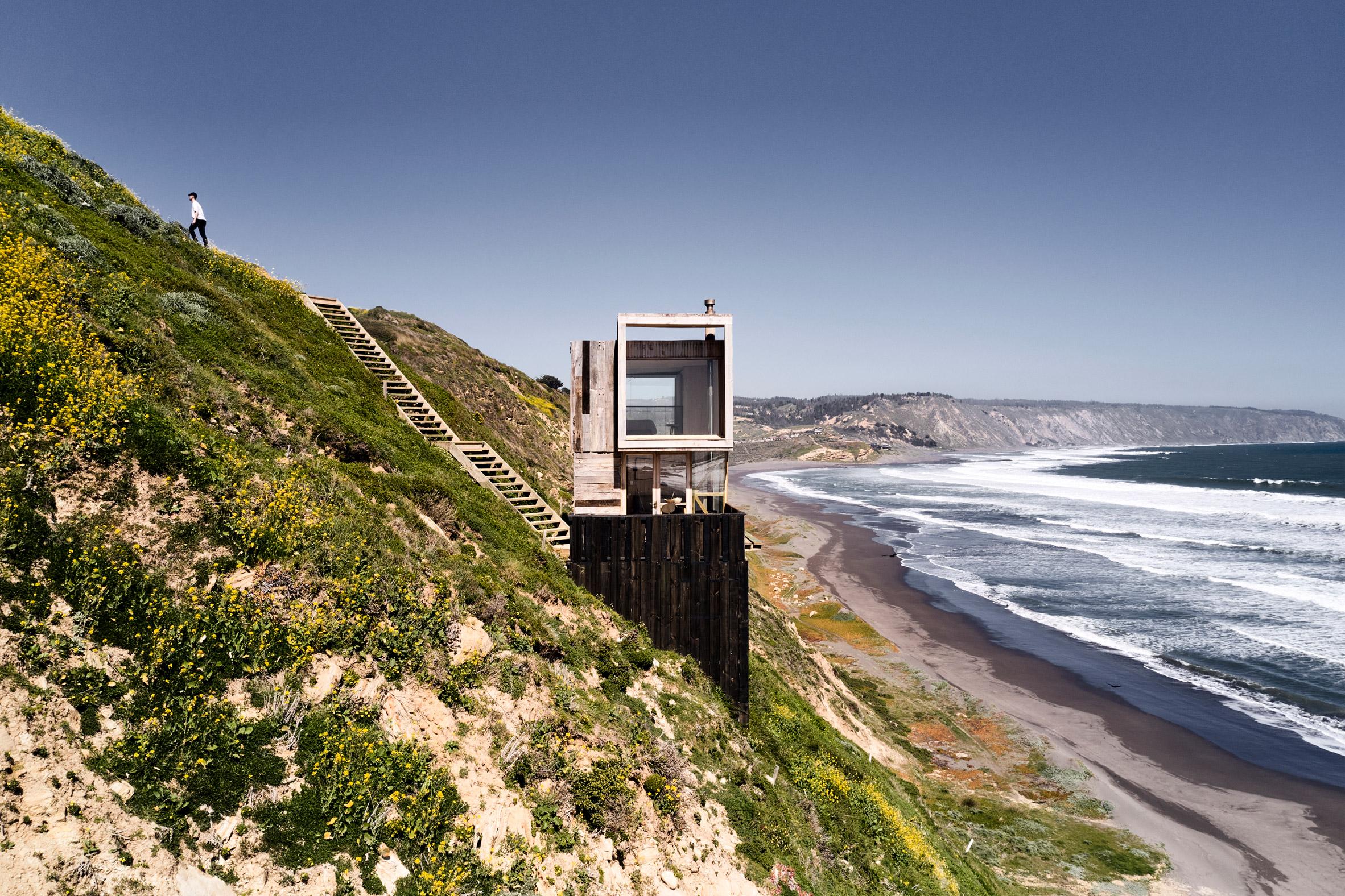 Windows overlooking Pacific Ocean in Chilean cabin