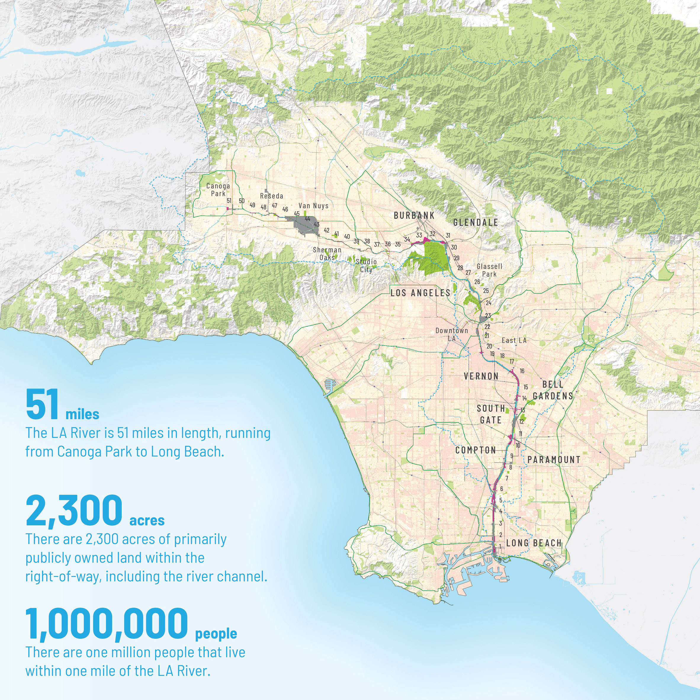 Map of the La River Master Plan