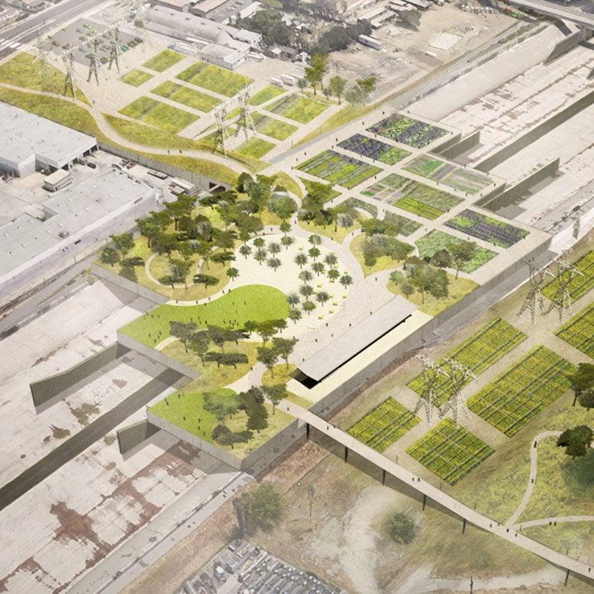 Platform parks on bridges designed by Frank Gehry for the LA River