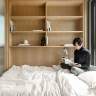 A sleeping area in a LIFE micro-apartment by Ian Lee