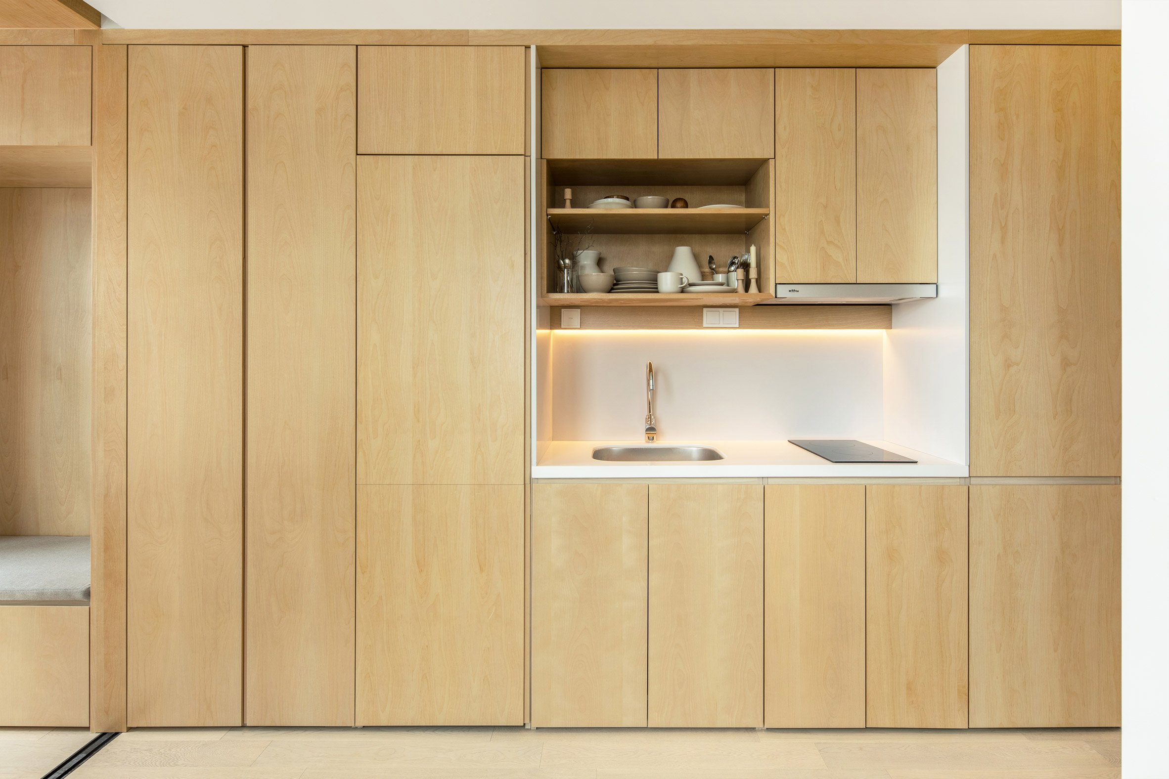 Kitchen inside a LIFE micro-apartment by Ian Lee