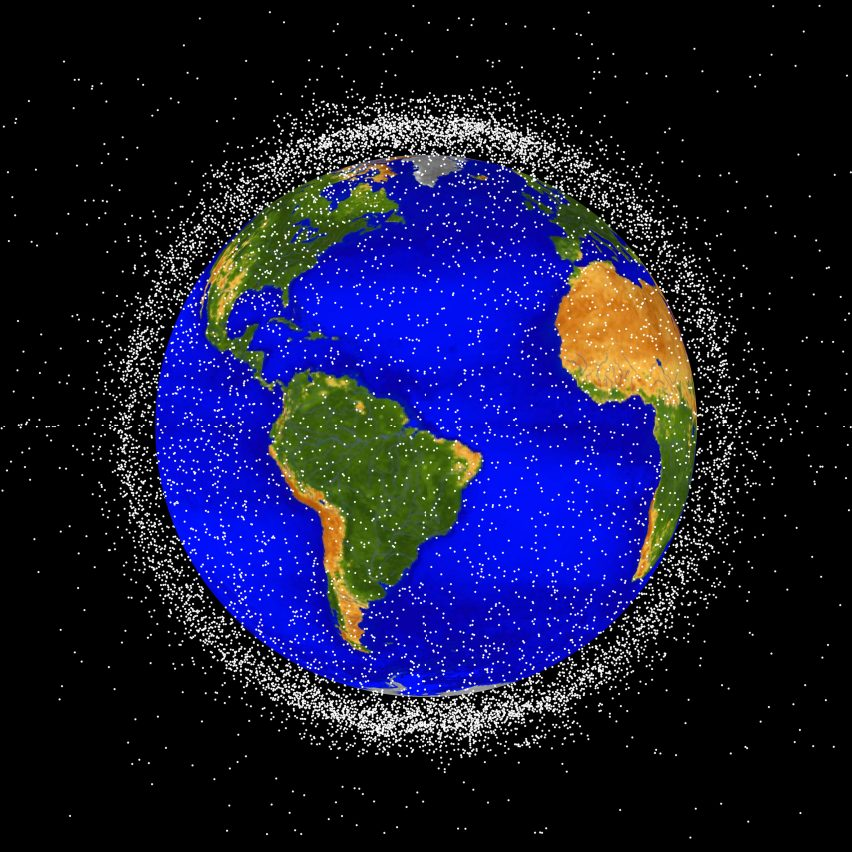 NASA rendering of space debris in low Earth orbit