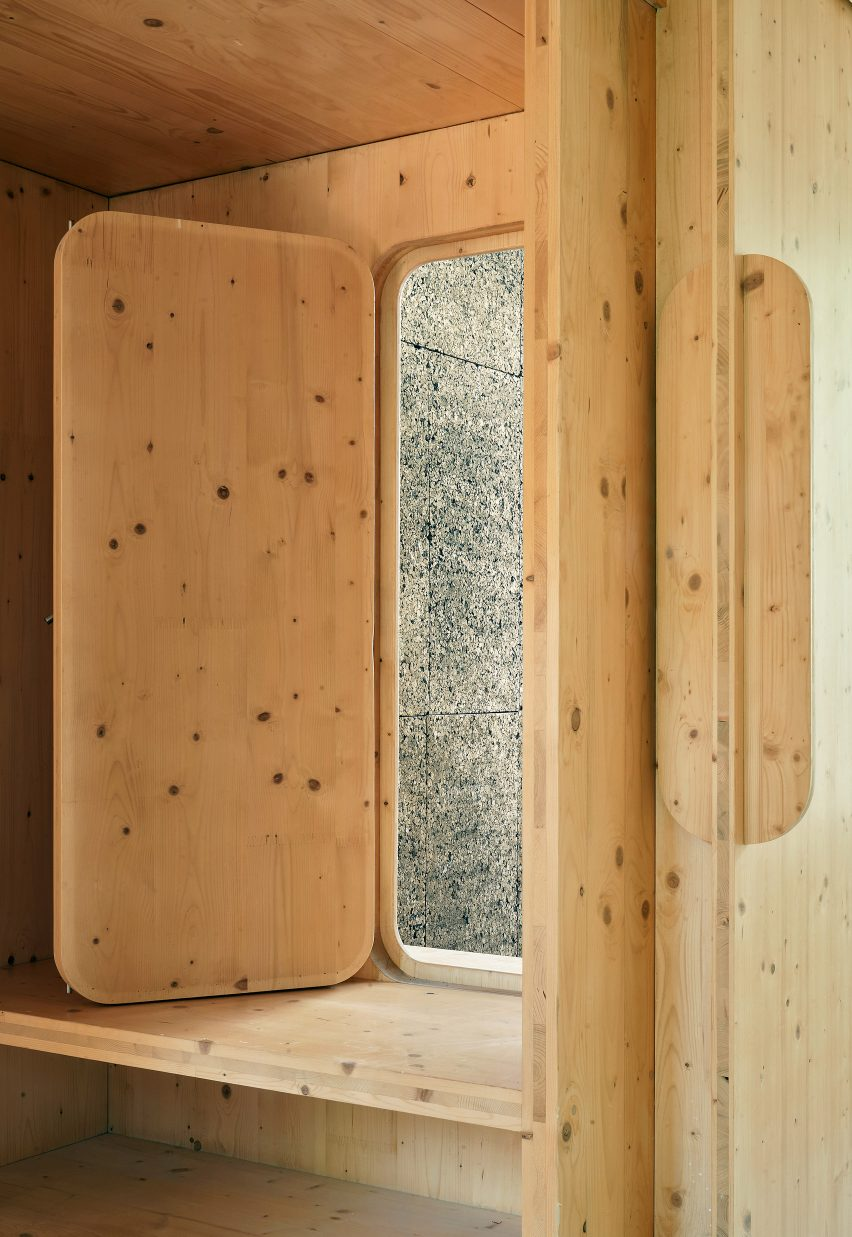 cross laminated timber window openings are rounded framing the exterior
