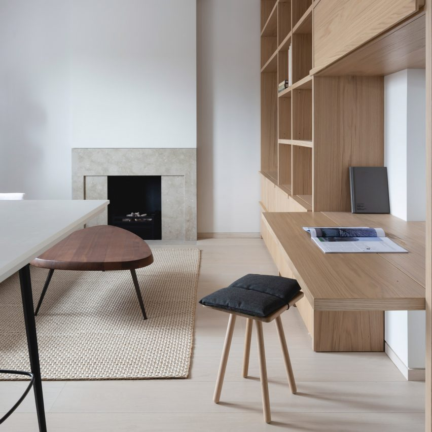 Folding desk in Mayfair pied-à-terre interior by Mwai
