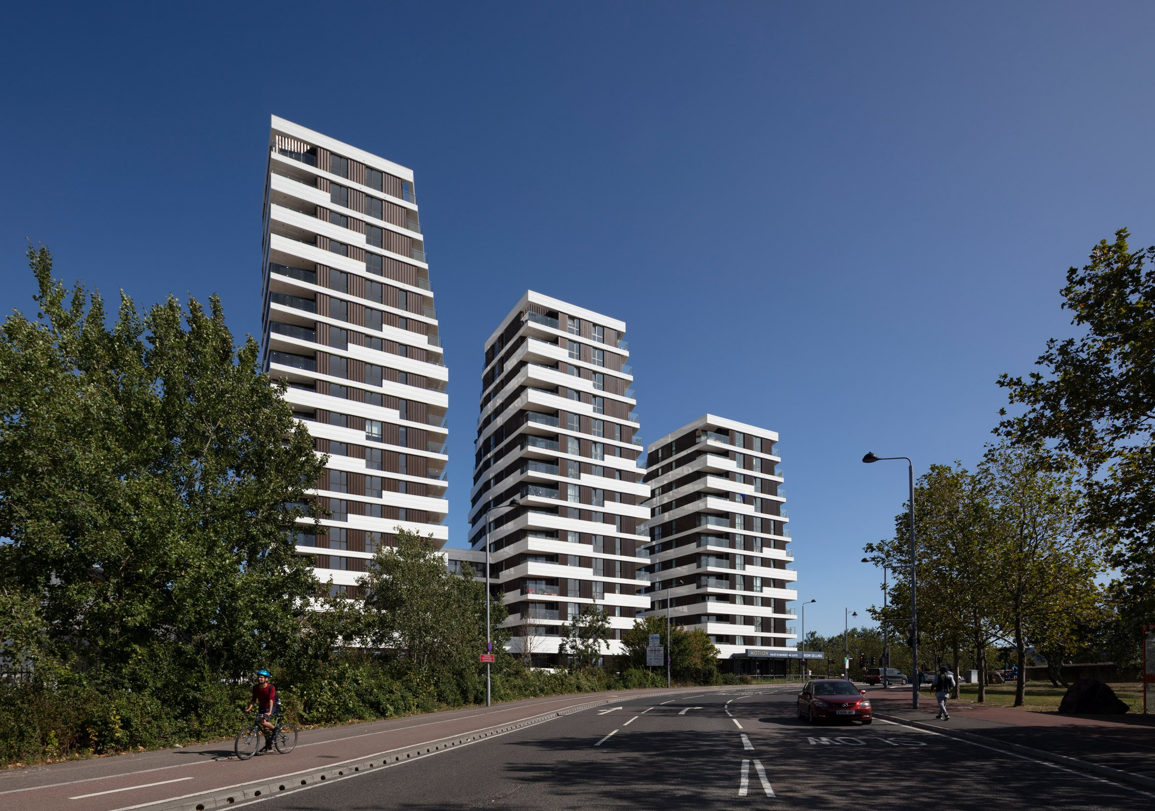 The three Motion towers in London by Pollard Thomas Edwards