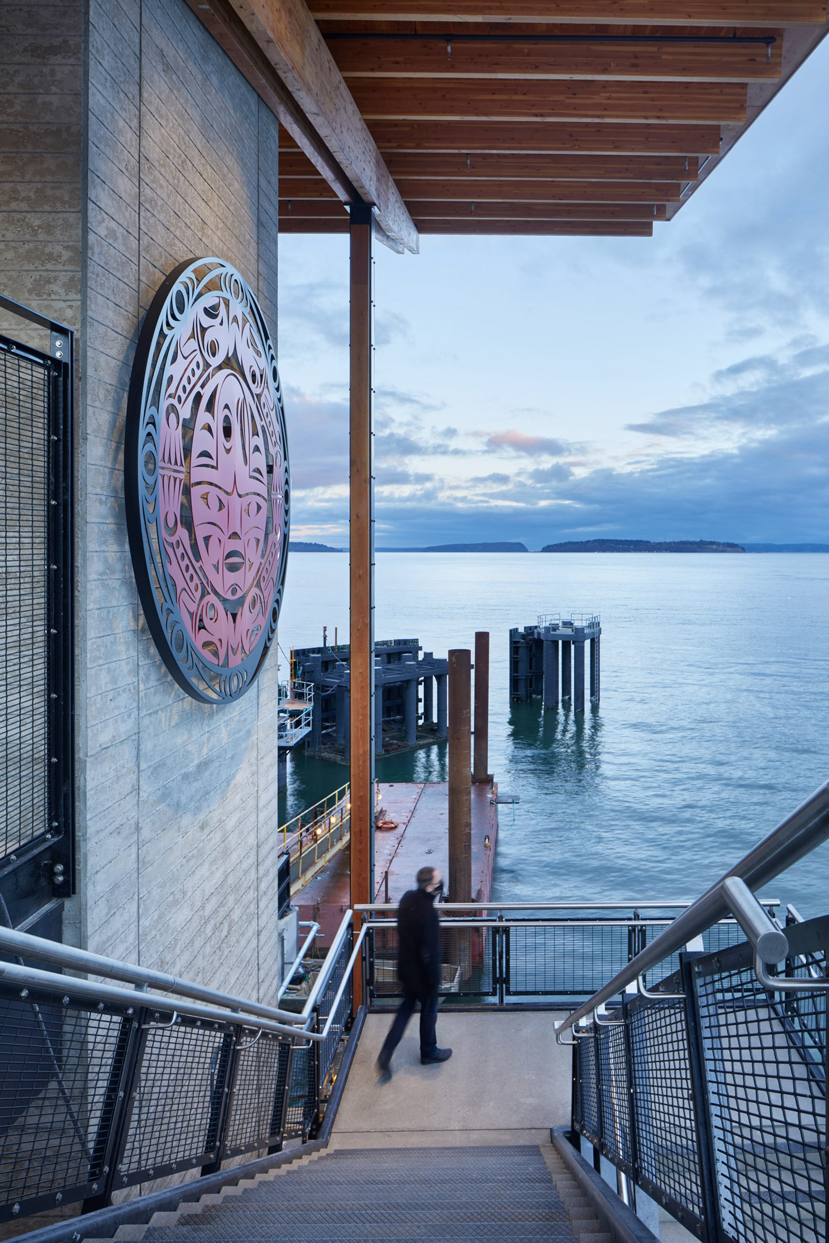 Artwork on the side of the Mukilteo Multimodal Ferry Terminal
