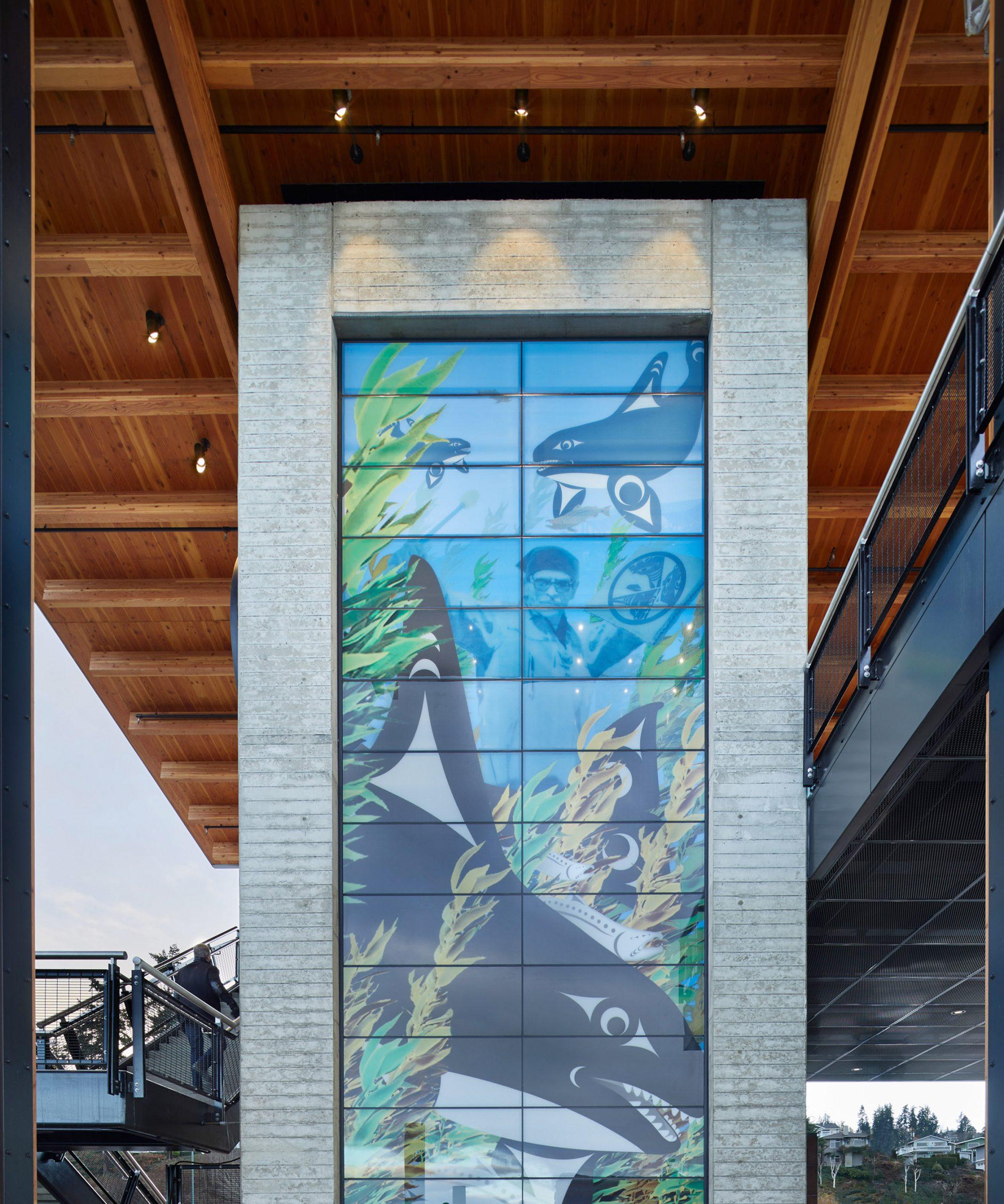 Glass mural on elevator shaft