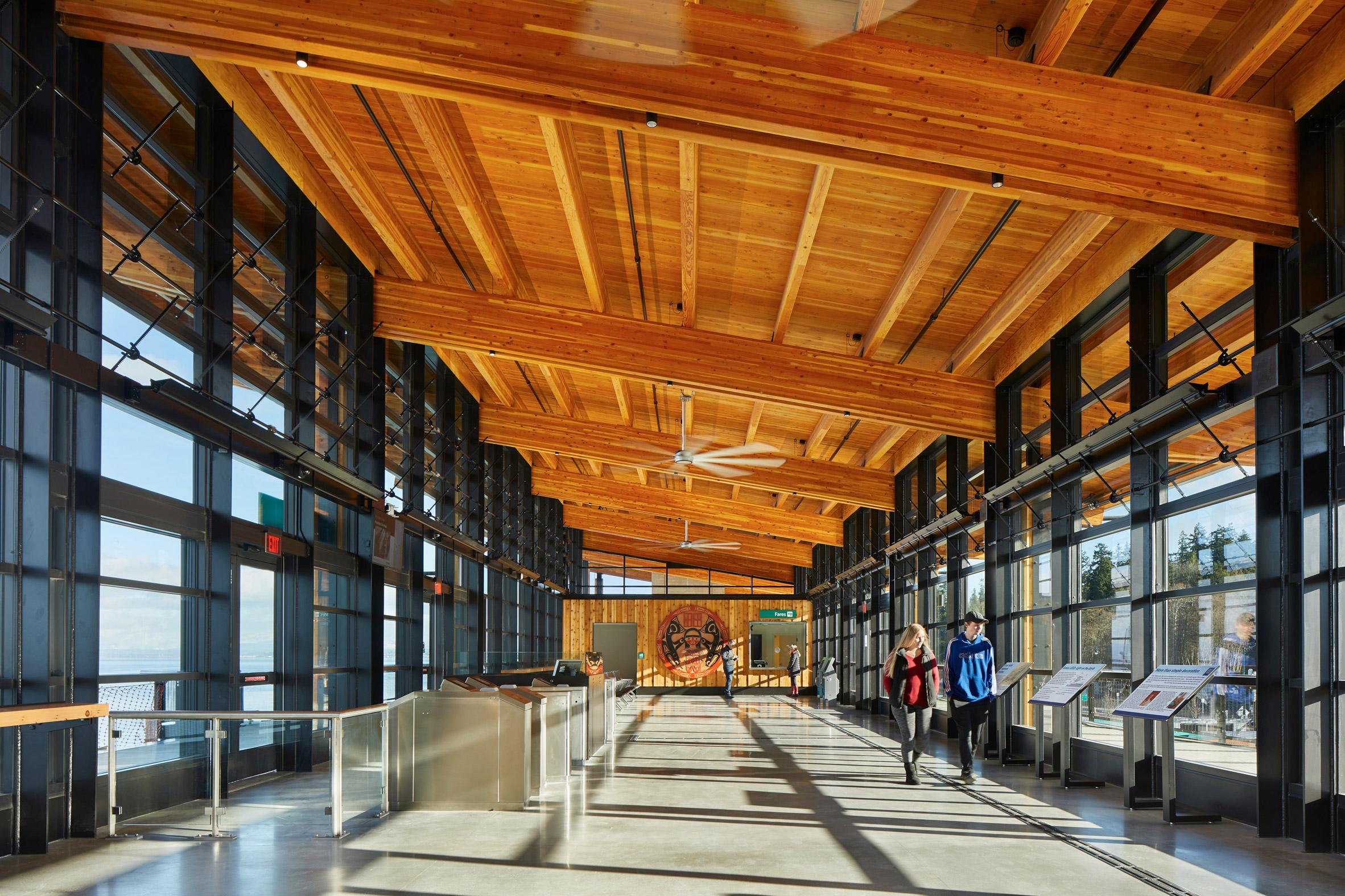 Great hall of Mukilteo Multimodal Ferry Terminal