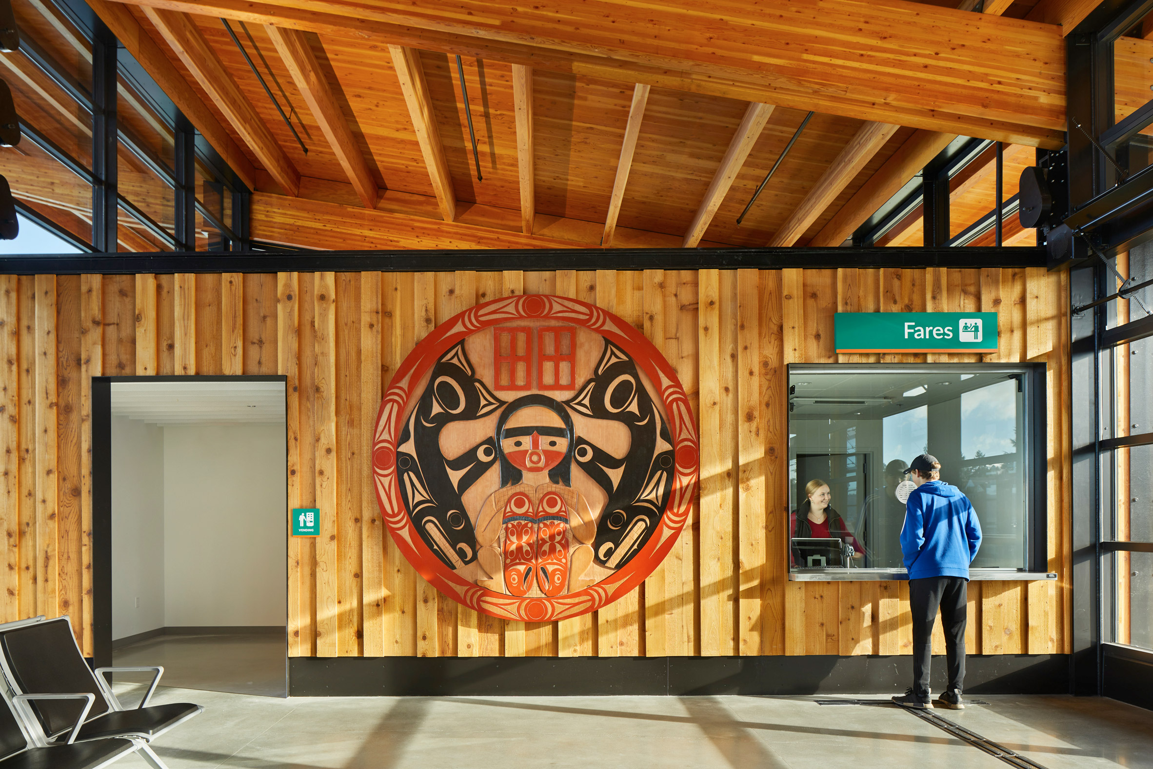 Spindle whorl by Grobin in Mukilteo Multimodal Ferry Terminal