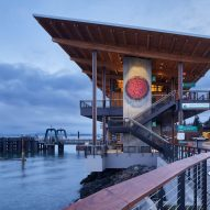 Washington ferry terminal informed by Native American longhouses