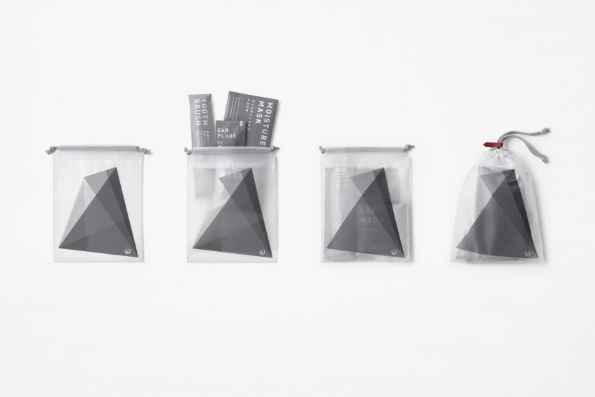 Inflight cosmetics bag by Nendo