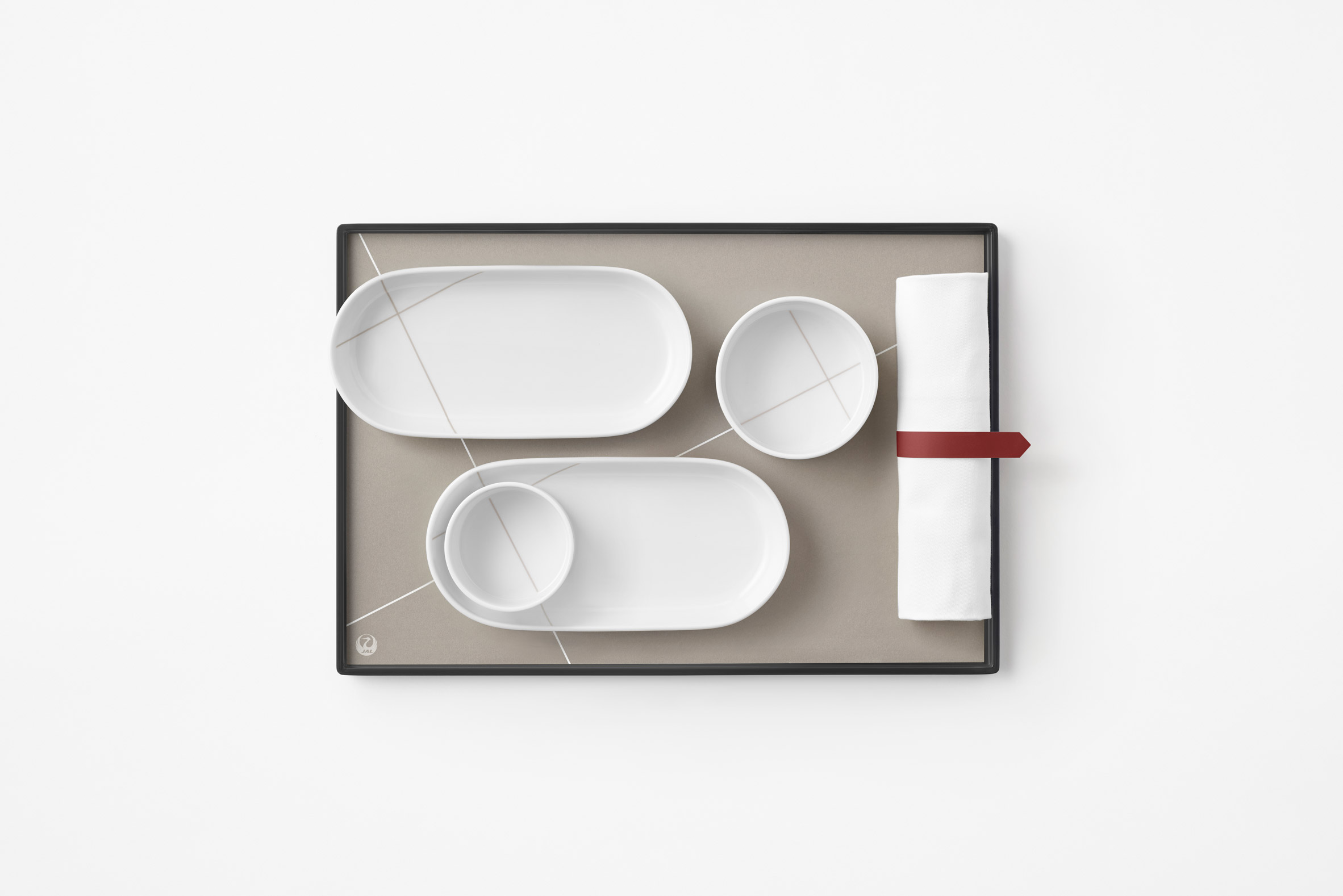 Inflight meal tray and dishes by Nendo for Japan Airlines