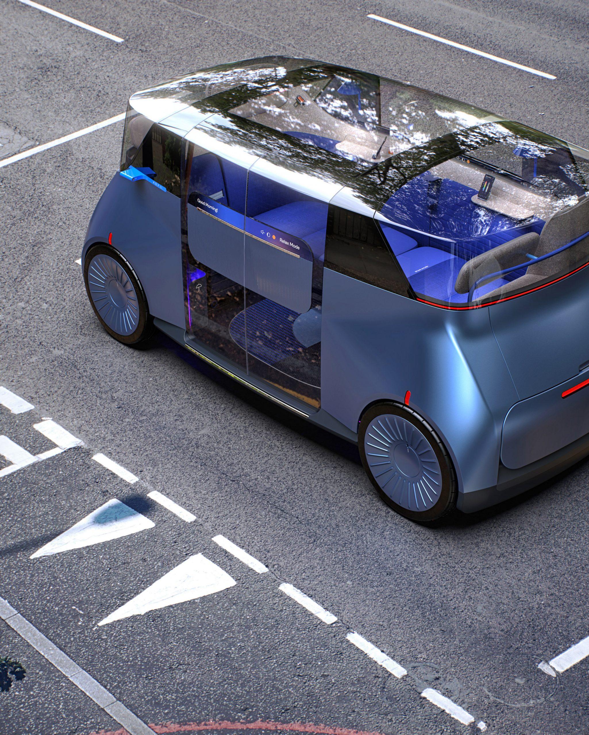Exterior of PriestmanGoode's autonomous ride-hailing vehicle