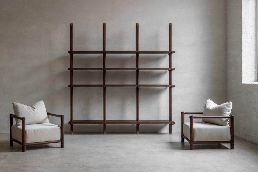 Walnut library and armchairs Nomad furniture by Nathalie Deboel