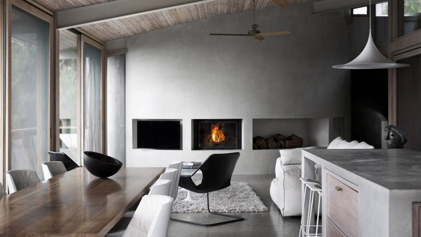 Living room with concrete wall