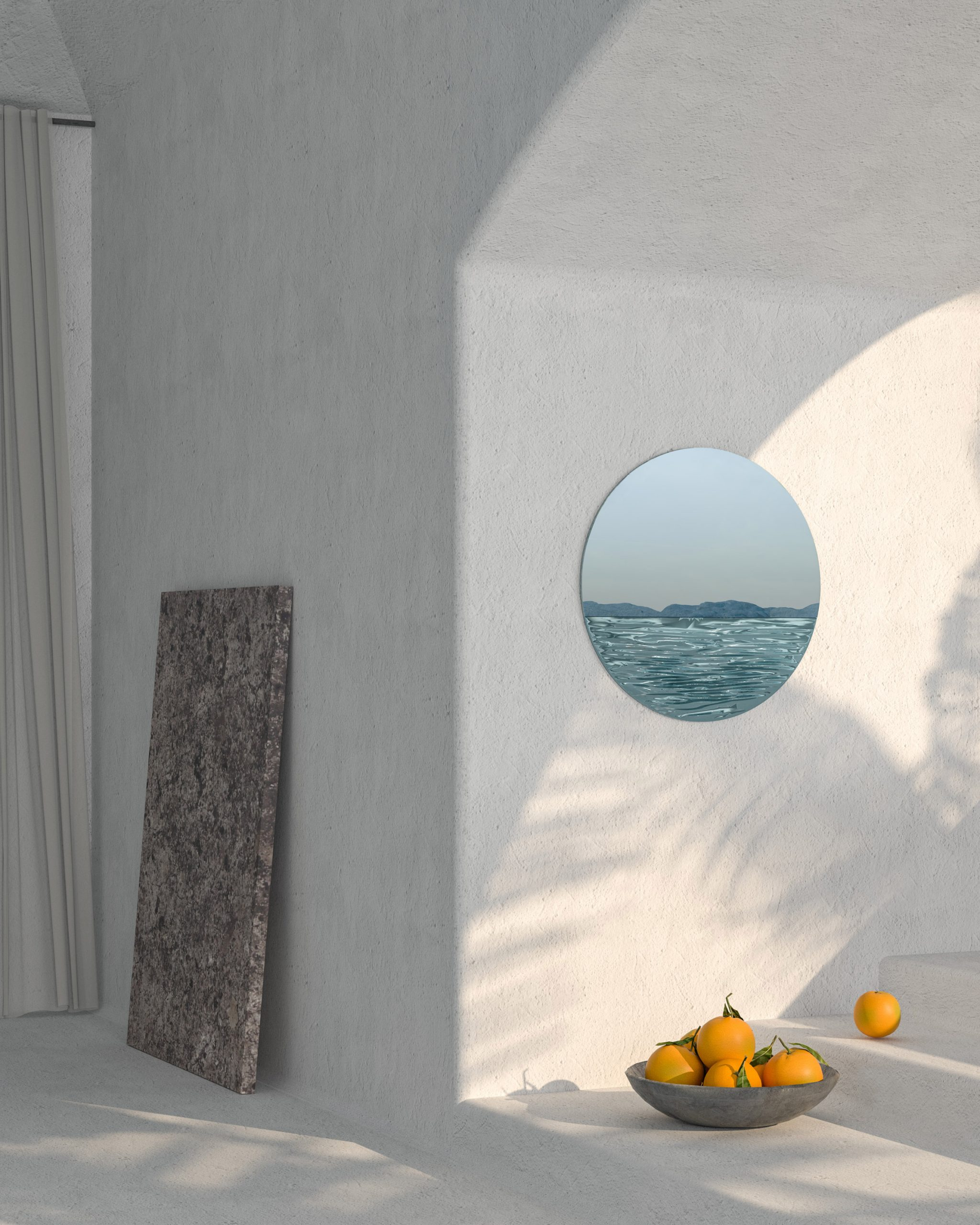 Orizon mirror by Ocrum Studio in moonlight blue rendered in an interior setting