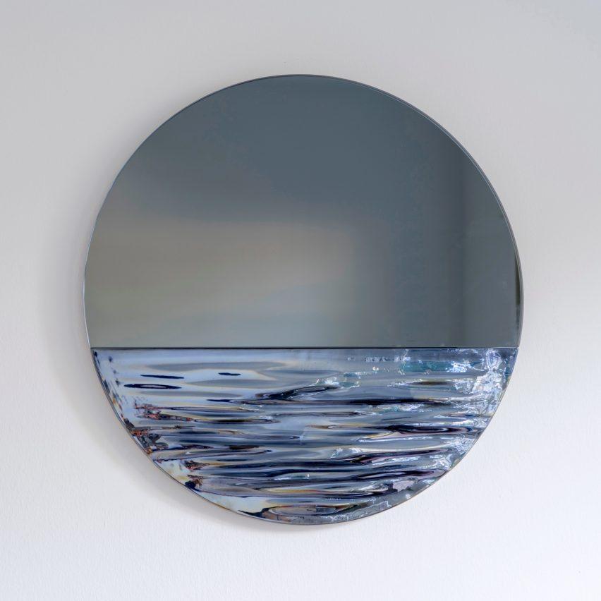 Orizon mirror by Ocrum Studio in moonlight blue
