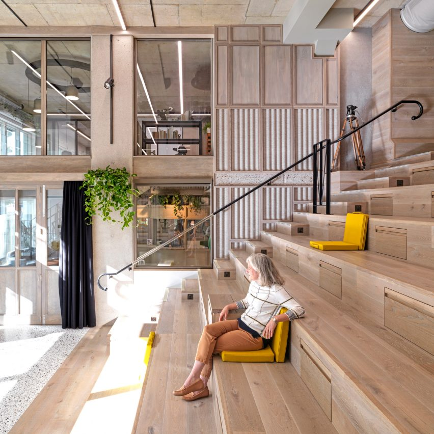Auditorium steps in Paddington Works by Threefold Architects