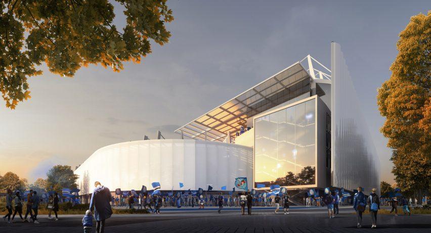 Enclosing the concourses at RCStrasbourg's stadium