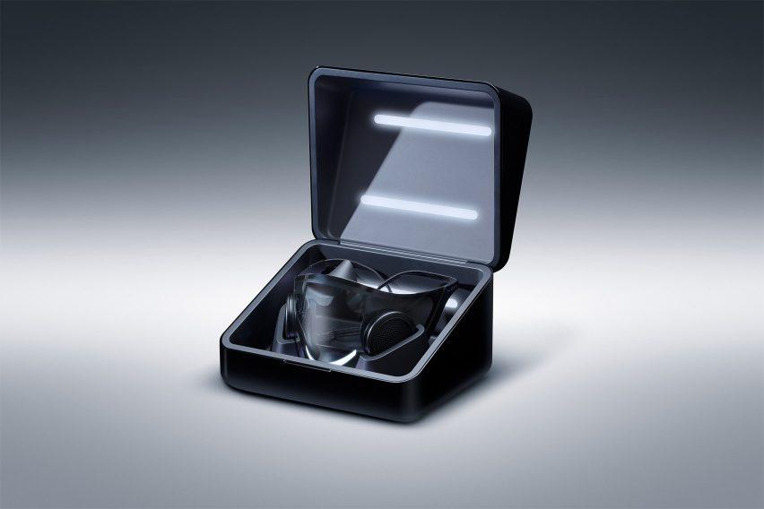 Razer's Project Hazel mask charging in its box