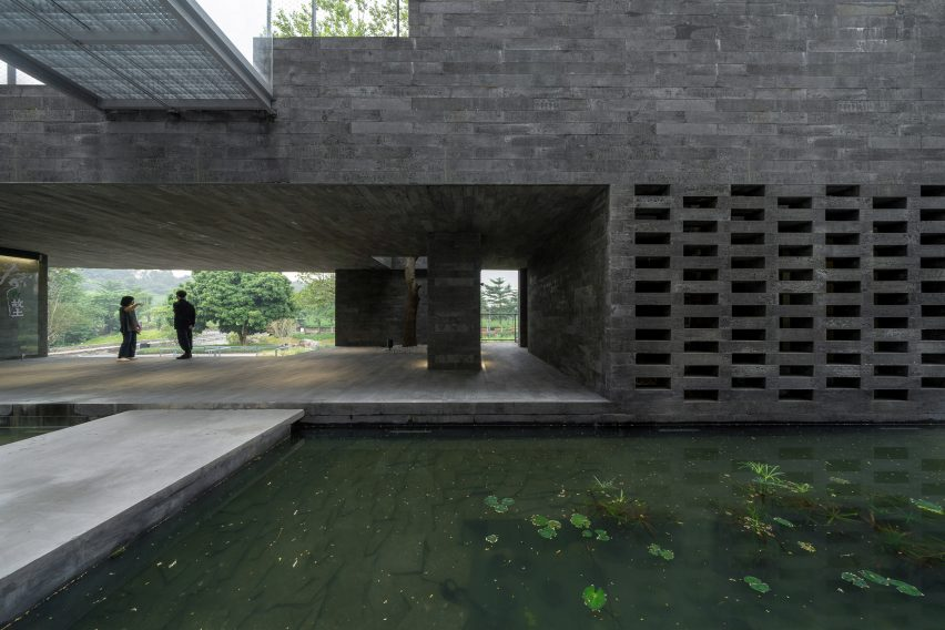 The granite podium of (Re)forming Duichuan Tea Yards centre by O-office Architects
